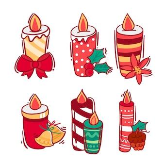 Velas encendidas para evento de navidad