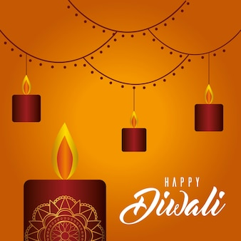 Velas felices de diwali en diseño de fondo naranja, tema del festival de luces