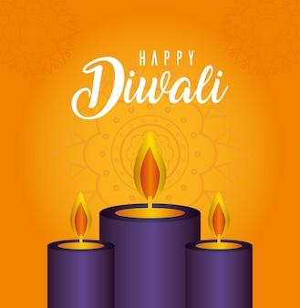 Velas felices de diwali en naranja con diseño de fondo de mandala, tema festival de luces