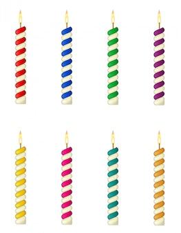 Velas para la ilustración de vector de pastel de cumpleaños