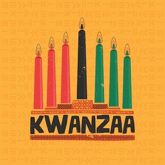 Velas y kwanzaa de diseño plano.