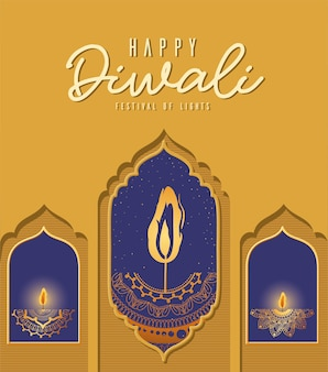 Velas de mandalas de diwali feliz en el diseño de windows, tema del festival de las luces.