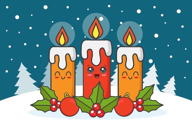 Velas de navidad con muérdagos en la nieve.
