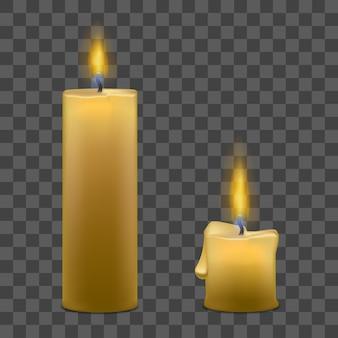 Velas de parafina realistas con luz de fuego de llama en transparente
