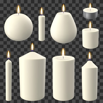 Velas realistas. vacaciones a la luz de las velas, romántica y acogedora vela de cera llameante, celebración de fiestas luces encendidas conjunto de ilustración. vela de fuego romántica, forma de vela de cera