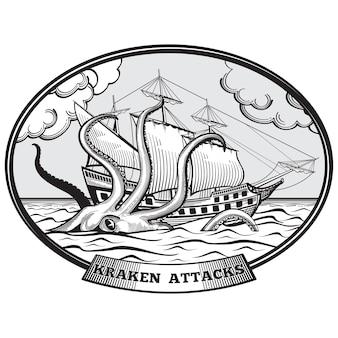 Velero y kraken monstruo pulpo emblema estilo dibujado a mano. océano tentáculo, gigante de la naturaleza, ilustración vectorial