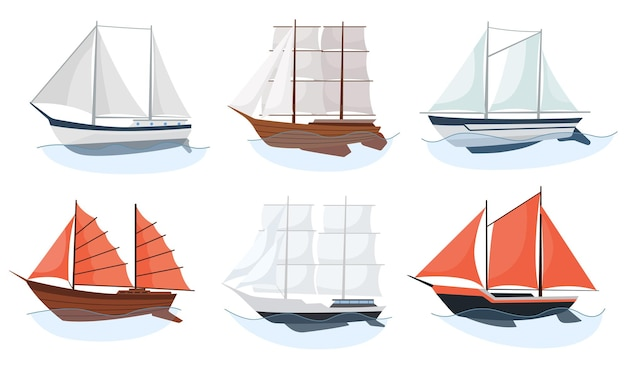Veleros de mar barcos conjunto de transporte de agua y transporte marítimo en un moderno estilo de diseño plano