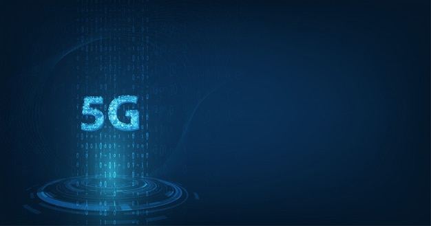 Velocidad de datos de conexión de innovación de alta velocidad de red global, creativo 5g brillante sobre fondo de color azul oscuro