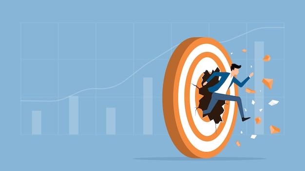 Velocidad de empresario corriendo avance al objetivo