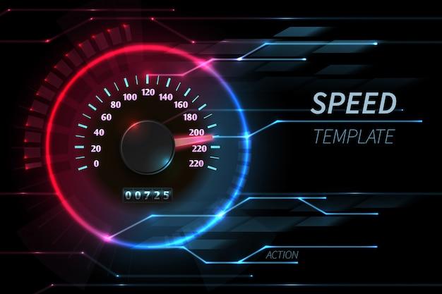 Velocidad movimiento línea vector tecnología abstracta con velocímetro de carreras de coches
