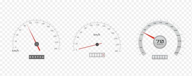 Velocímetro del automóvil con escala de nivel de velocidad o tacómetro