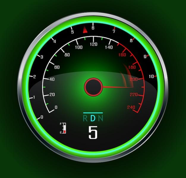 Velocímetro de coche de carreras en verde oscuro