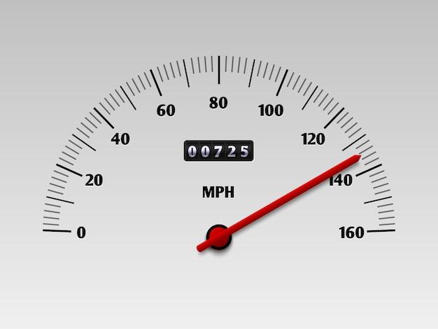 Velocímetro del coche con escala de nivel de velocidad o ilustración de vector de tacómetro aislado