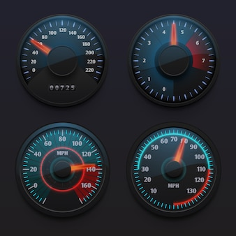 Velocímetros de automóviles futuristas, indicadores de velocidad con el indicador para el tablero de instrumentos del vehículo aislado conjunto de vectores. ilustración del velocímetro en el tablero de instrumentos, indicador de medición de velocidad