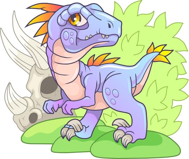 Velociraptor de dibujos animados lindo