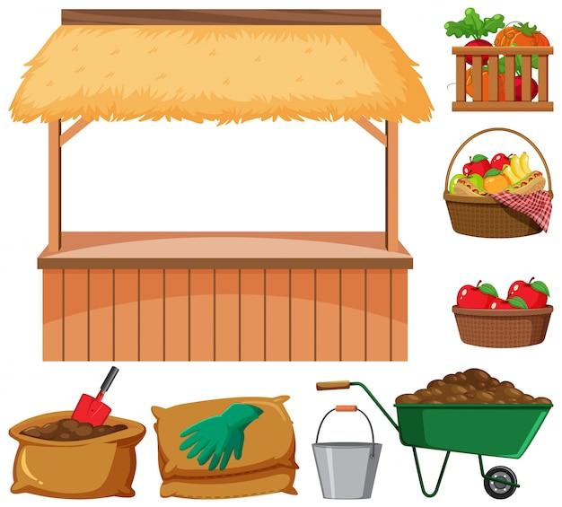 Vendedor de alimentos y muchos artículos agrícolas sobre fondo blanco.