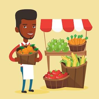 Vendedor ambulante con frutas y verduras.
