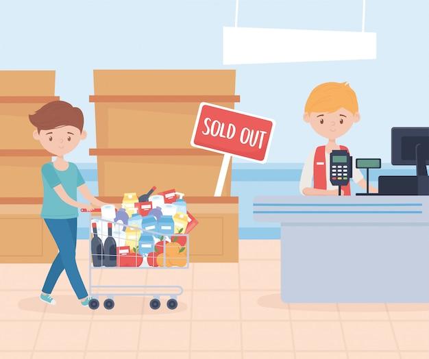 Vendedor y cliente hombre con carrito de compra de alimentos en exceso