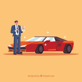 Vendedor de coches de diseño plano con documento de contrato