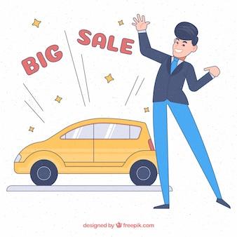 Vendedor de coches feliz dibujado a mano
