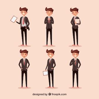 Vendedor de dibujos animados en seis diferentes posiciones