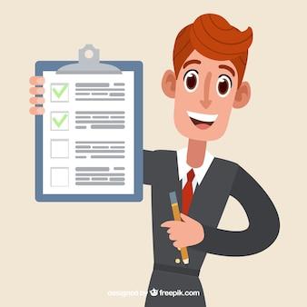 Vendedor de diseño plano con documento de contrato