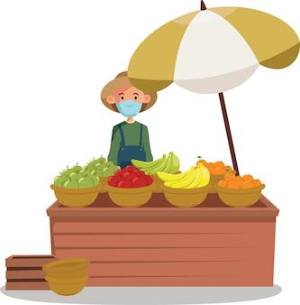 Un vendedor de fruta fresca que vende ilustración de frutas frescas