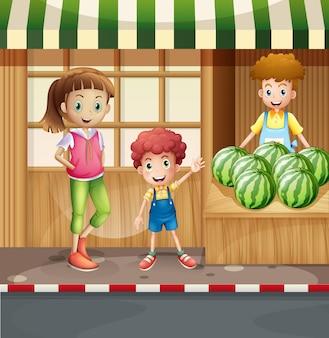 Vendedor de frutas y clientes.