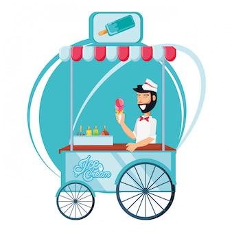 Vendedor de helados hombre en carro kiosco personaje