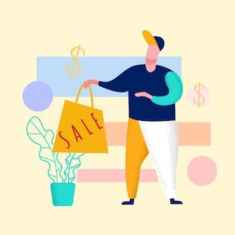 Vendedor con ilustración de bolsa de compras