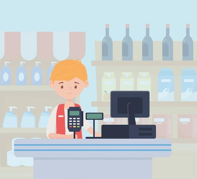Vendedor mercado cajero registro estantes compra de comida en exceso