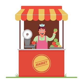 Un vendedor del mercado vende y pesa manzanas. una pequeña carpa en el mercado. personaje plano.