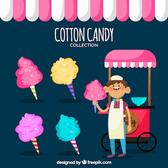Vendedor sonriente con algodón de azúcar colorido