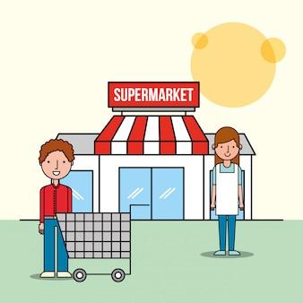 Vendedora y cliente hombre supermercado frontal con carrito de compras