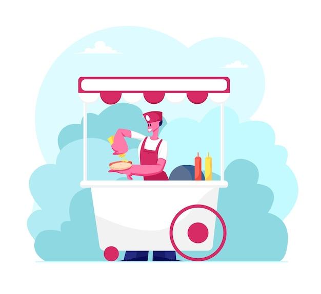 Vendedora con soporte uniforme en cabina con ruedas con perritos calientes en el parque de la ciudad en verano. ilustración plana de dibujos animados