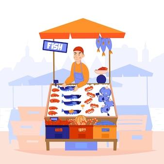 Vendedores de pescado paisaje de mercado de ilustración y carácter plano de bagman en el puesto de buccino