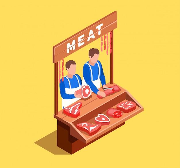 Vender carne escena isométrica
