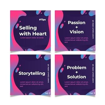 Vender con consejos de corazón en conjunto de publicaciones de instagram