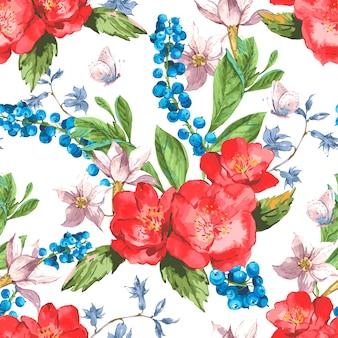 Vendimia de patrones sin fisuras florales con rosas y flores silvestres