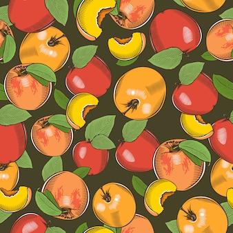 Vendimia de patrones sin fisuras con manzanas y duraznos.