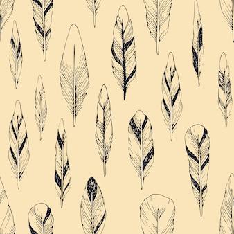 Vendimia de patrones sin fisuras con plumas dibujadas a mano