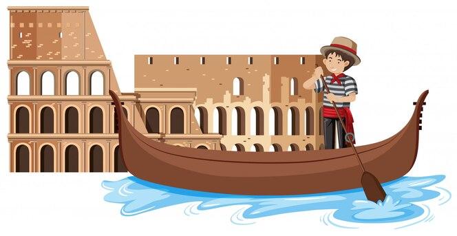 Venecia góndola sobre fondo blanco