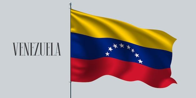 Venezuela ondeando la bandera en el asta de la bandera