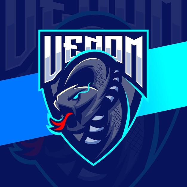Venom viper serpiente mascota esport logo diseño personaje