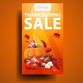 Venta de acción de gracias, banner web de descuento vertical naranja moderno con cosecha de otoño