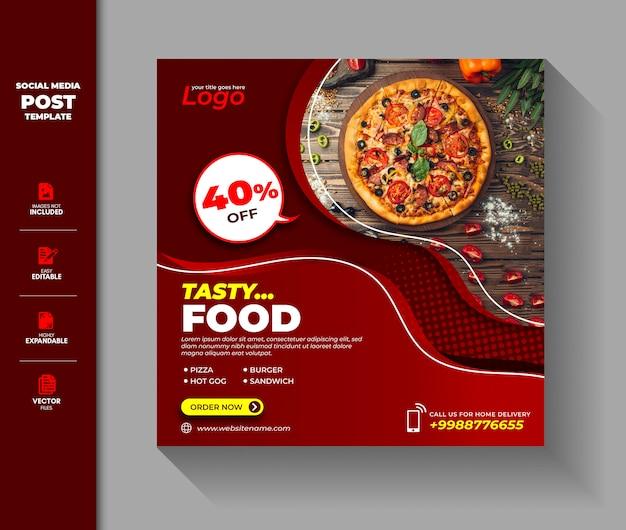 Venta de alimentos social media post square banner premium