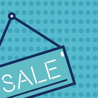 La venta azul firma encima el diseño gráfico del ejemplo colorido del vector del fondo