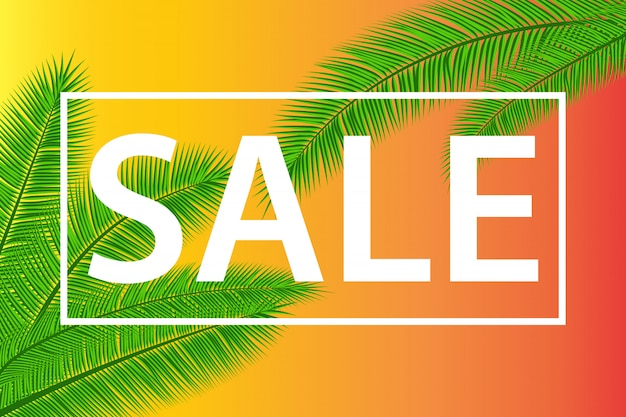 Venta de banner con hojas de palma. fondo floral vacaciones tropicales. ilustración. ventas de verano calientes. eps 10.