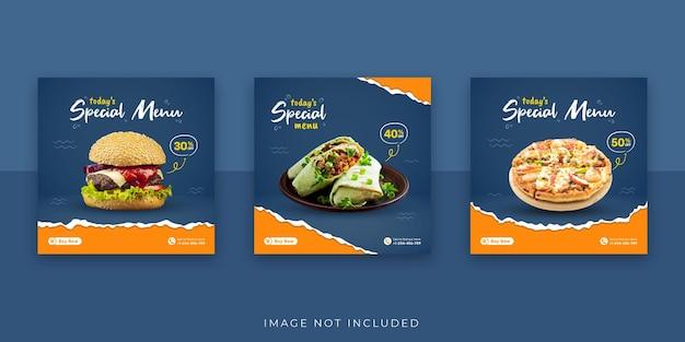 Venta de banner de papel rasgado de comida rápida y plantilla de publicación de redes sociales