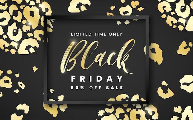 Venta de banner de viernes negro 50 por ciento de descuento con marco negro y textura de piel de leopardo dorado